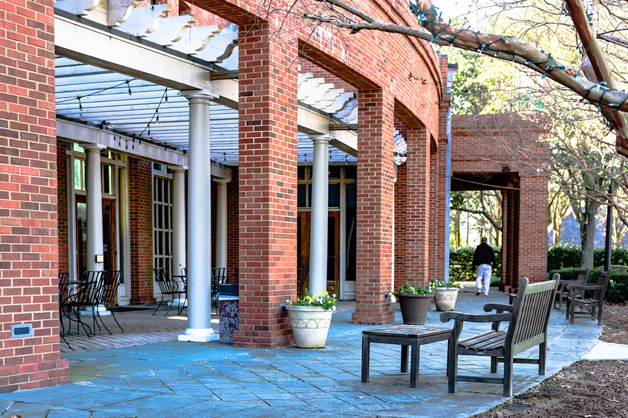 Patio outdoor seating for a cafe at the Alabama Shakespeare Festival