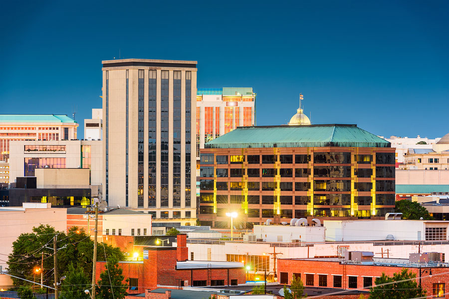 Montgomery, Alabama, USA downtown cityscape at twilight
